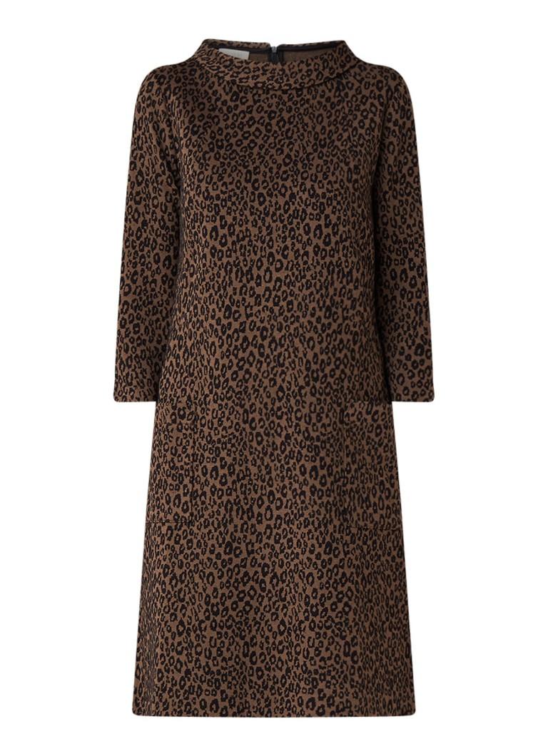 Hobbs Rosalyn midi-jurk met ingebreid luipaarddessi bruin