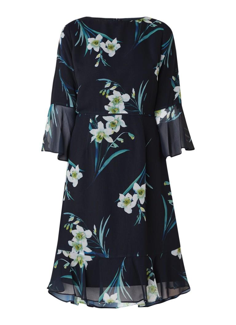 Hobbs Adriana midi-jurk met bloemendessin en volant donkerblauw