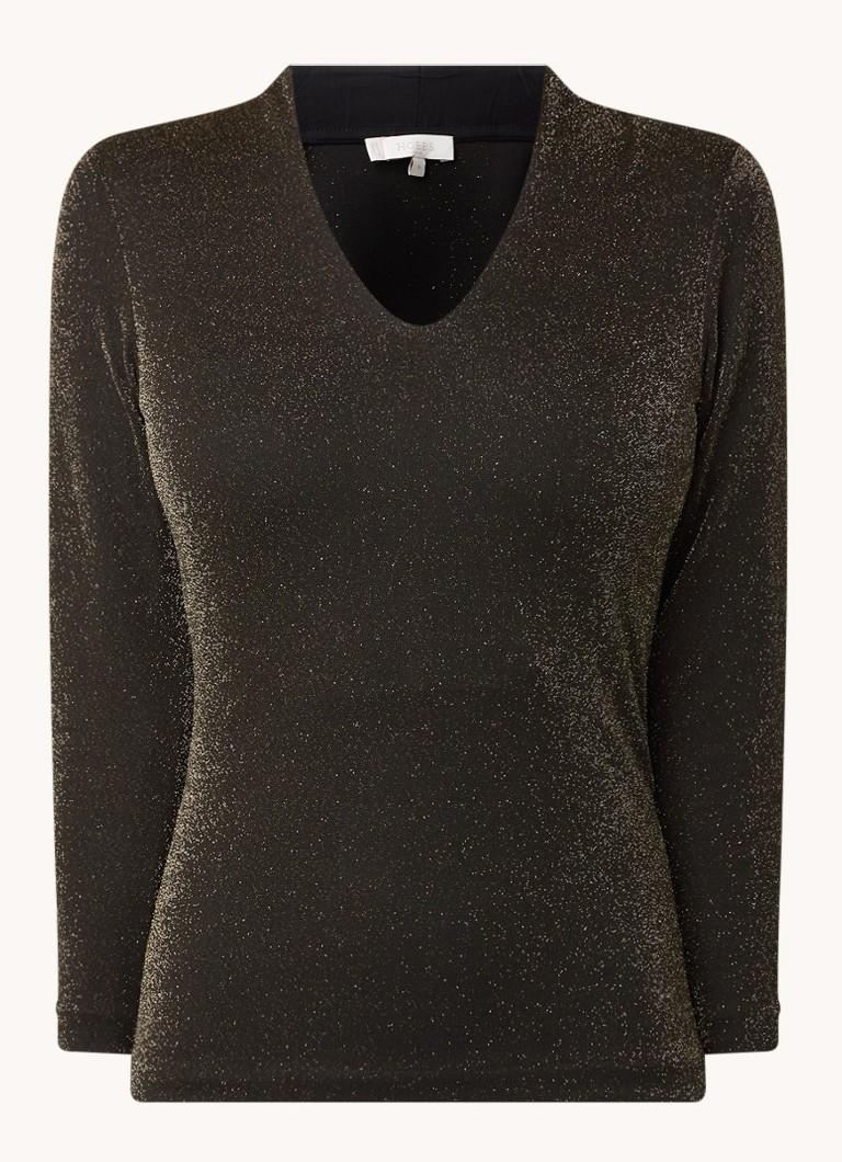 Aimee fijngebreide pullover met V hals en lurex