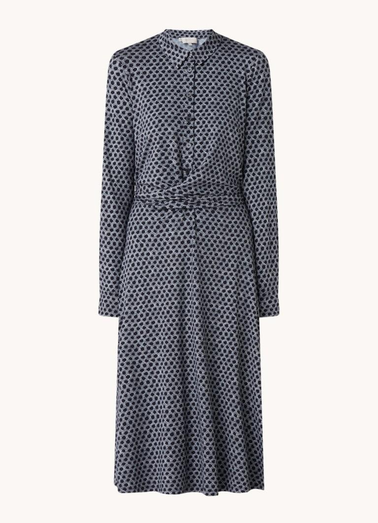 Aretha midi jurk met print en strikceintuur