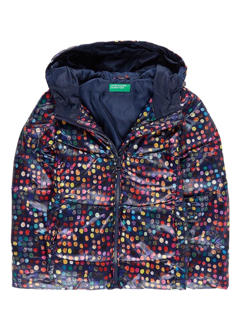 Benetton Gewatteerde jas met stipdessin en steekzakken