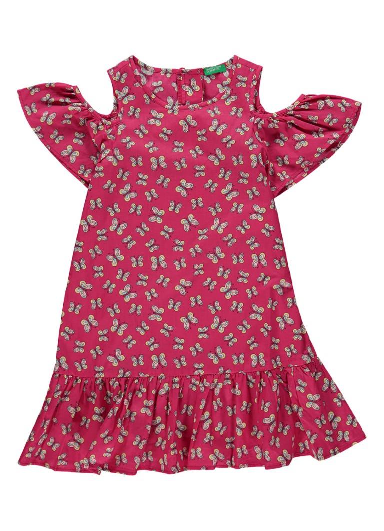 United Colors of Benetton Cold-shoulder jurk met dessin en volant
