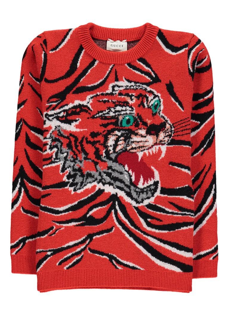Gucci Fijngebreide trui van wol met tijgerprint