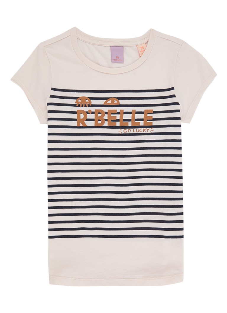 Scotch R'Belle T-shirt met streepdessin en opdruk