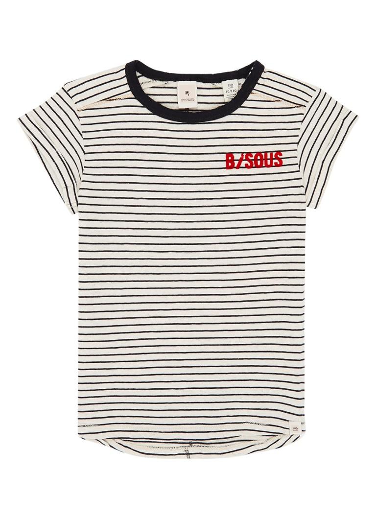 Scotch R'Belle T-shirt met streepdessin en flockprint