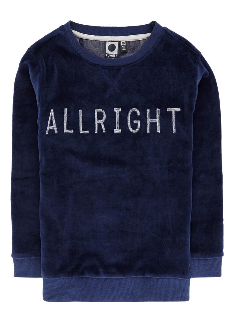 Tumble 'n Dry Marlan sweater van fluweel met tekstborduring