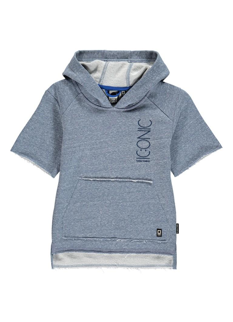 Tumble 'n Dry Mikael hoodie met korte mouw en gerafelde afwerking