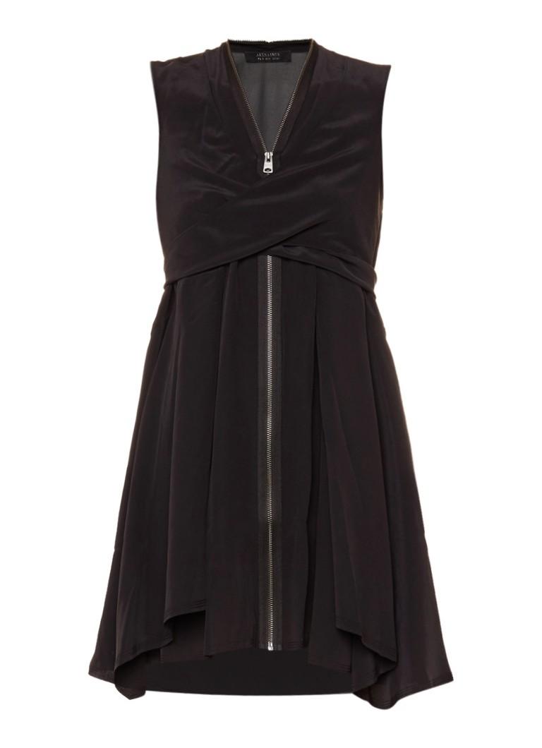 AllSaints Jayda mouwloze jurk van zijde met ritssluiting zwart