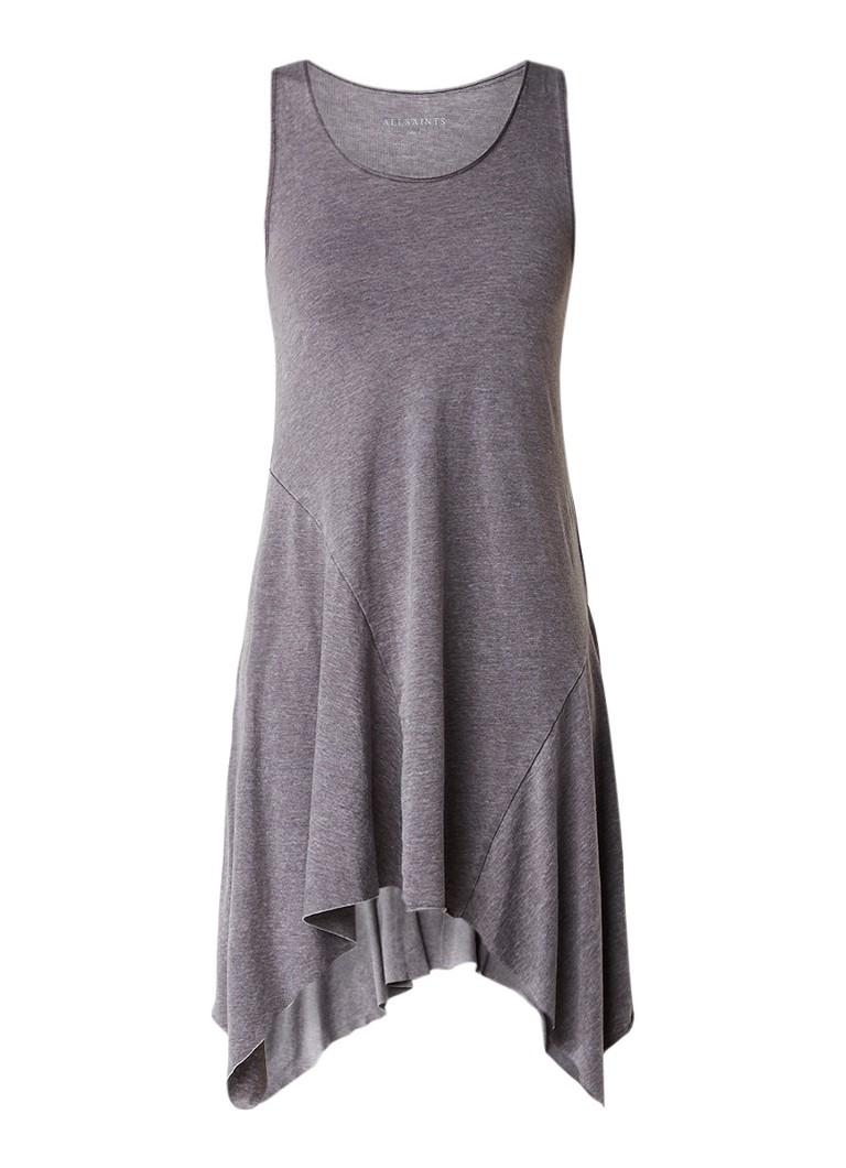 AllSaints Tany jurk van jersey met onafgewerkte zoom antraciet