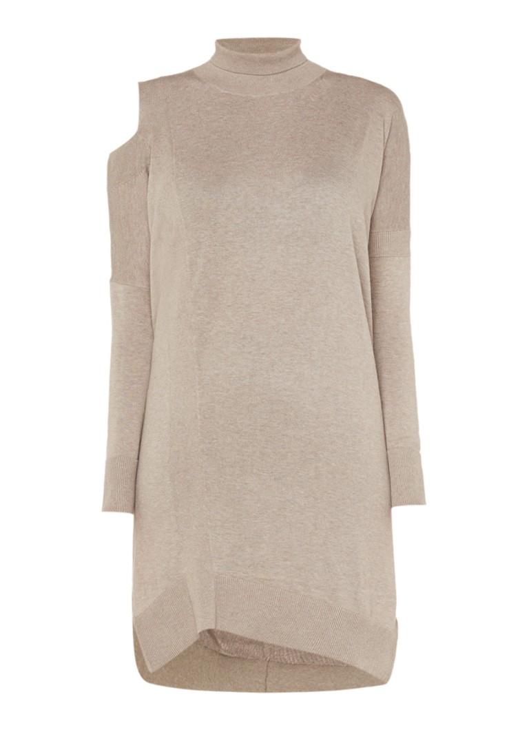 AllSaints Cecily cold shoulder trui-jurk met col beige