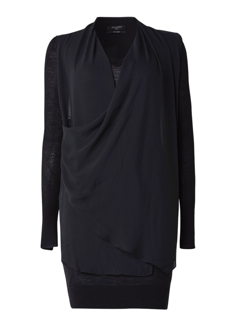 AllSaints Trui-jurk met semi-transparante asymmetrische overlay zwart