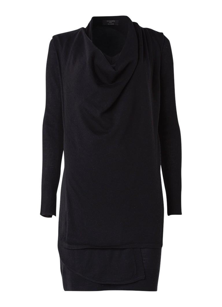 AllSaints Drina trui-jurk van merinowol met asymmetrische overlay zwart