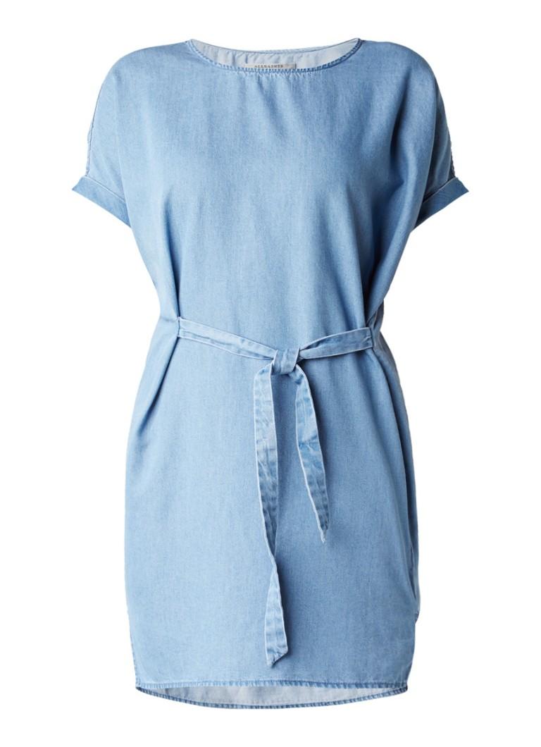 AllSaints Sonny spijkerjurk met strikdetail indigo
