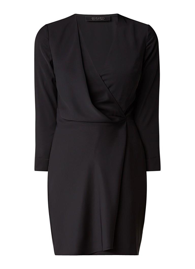AllSaints Rila jurk van satijn met overslag zwart