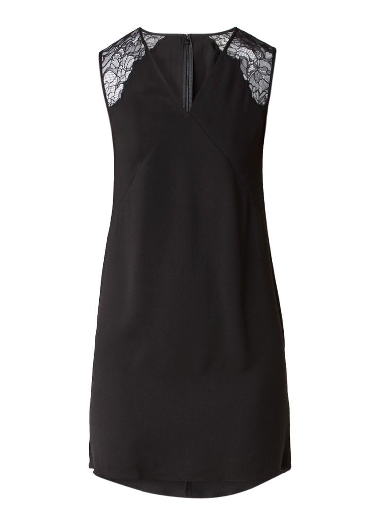 AllSaints Prism jurk van crêpe met kanten details zwart