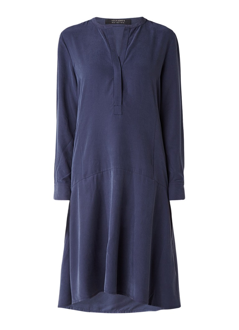 AllSaints Tiami tuniekjurk met klokkende rok donkerblauw