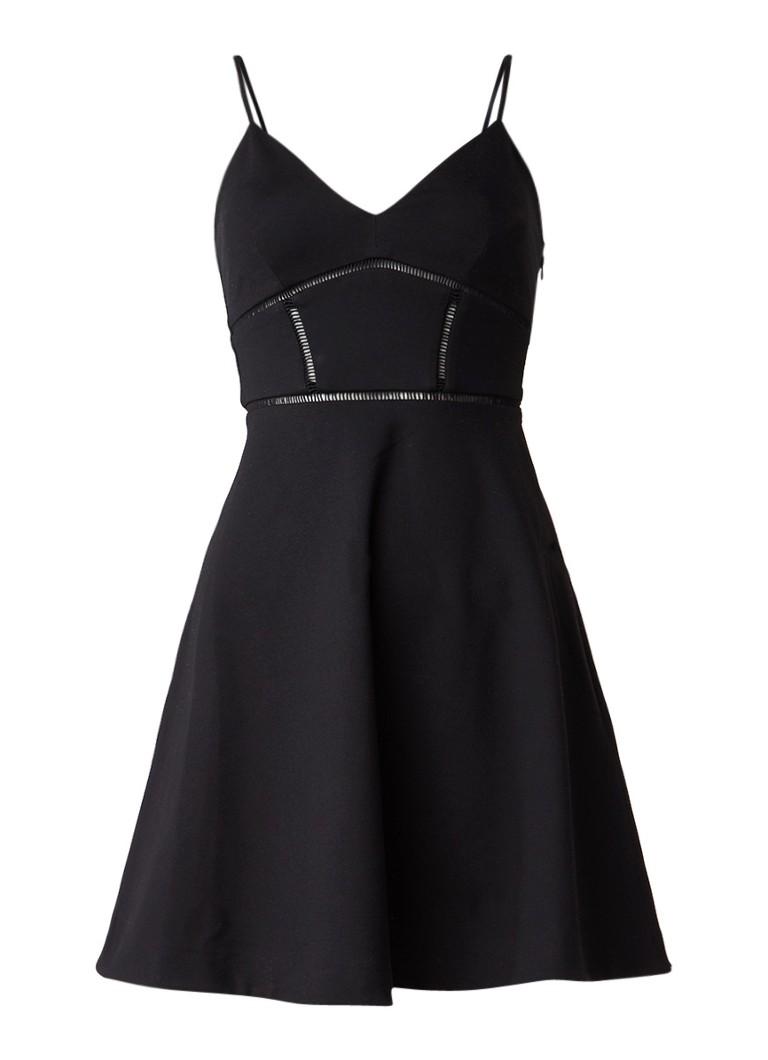AllSaints Clementine A-lijn jurk met opengewerkte bies zwart