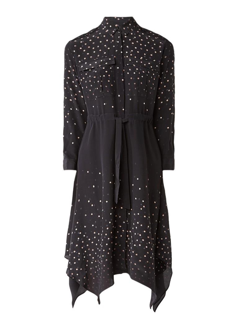 AllSaints Milena Estrela blousejurk van zijde met sterrendessin zwart