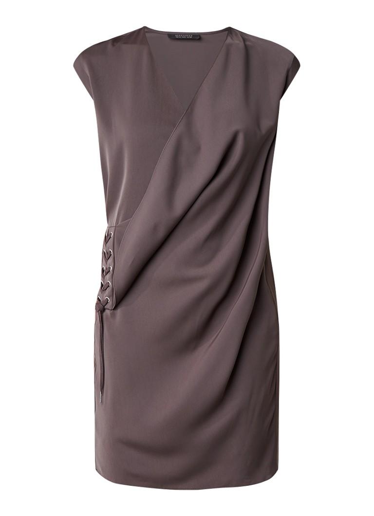 AllSaints Aures jurk met watervalhals en rijgdetail antraciet