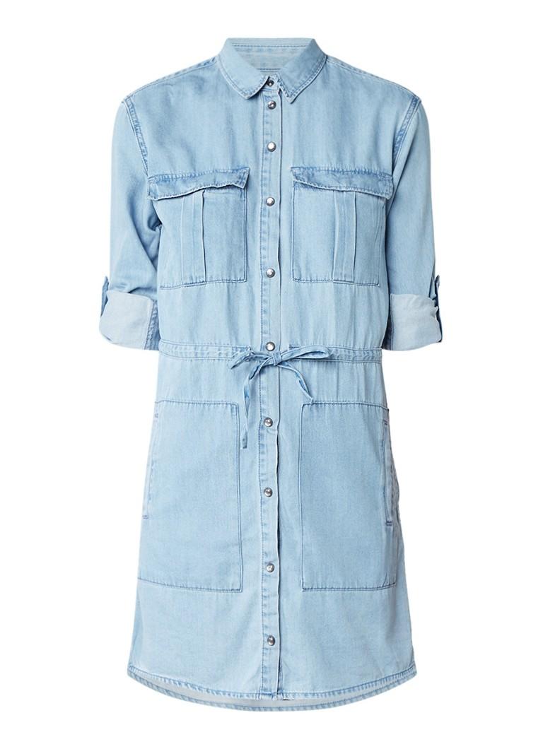 AllSaints Millie denim blousejurk met taillekoord indigo