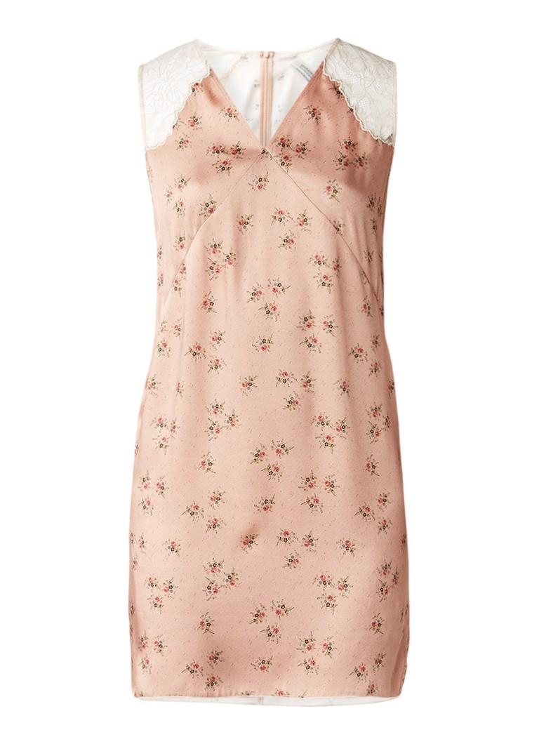 AllSaints Prism Rosalie gebloemde jurk met kanten details oudroze