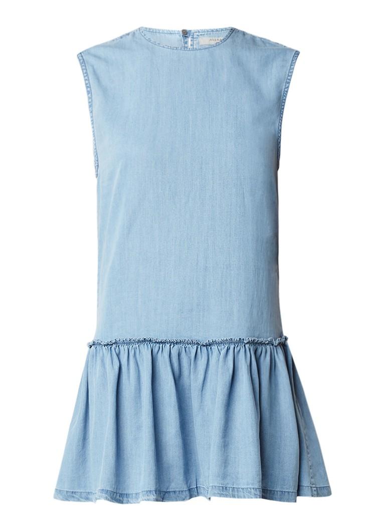 AllSaints Polly chambray A-lijn jurk met volant indigo