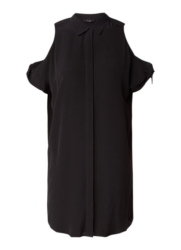 AllSaints Irie cold shoulder blousejurk van crépe zwart