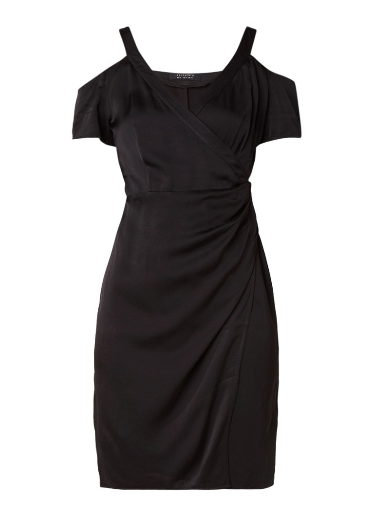AllSaints Cadia overslagjurk met cold shoulder zwart