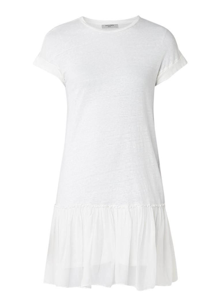 AllSaints Jody jurk van linnen met tule donkergrijs