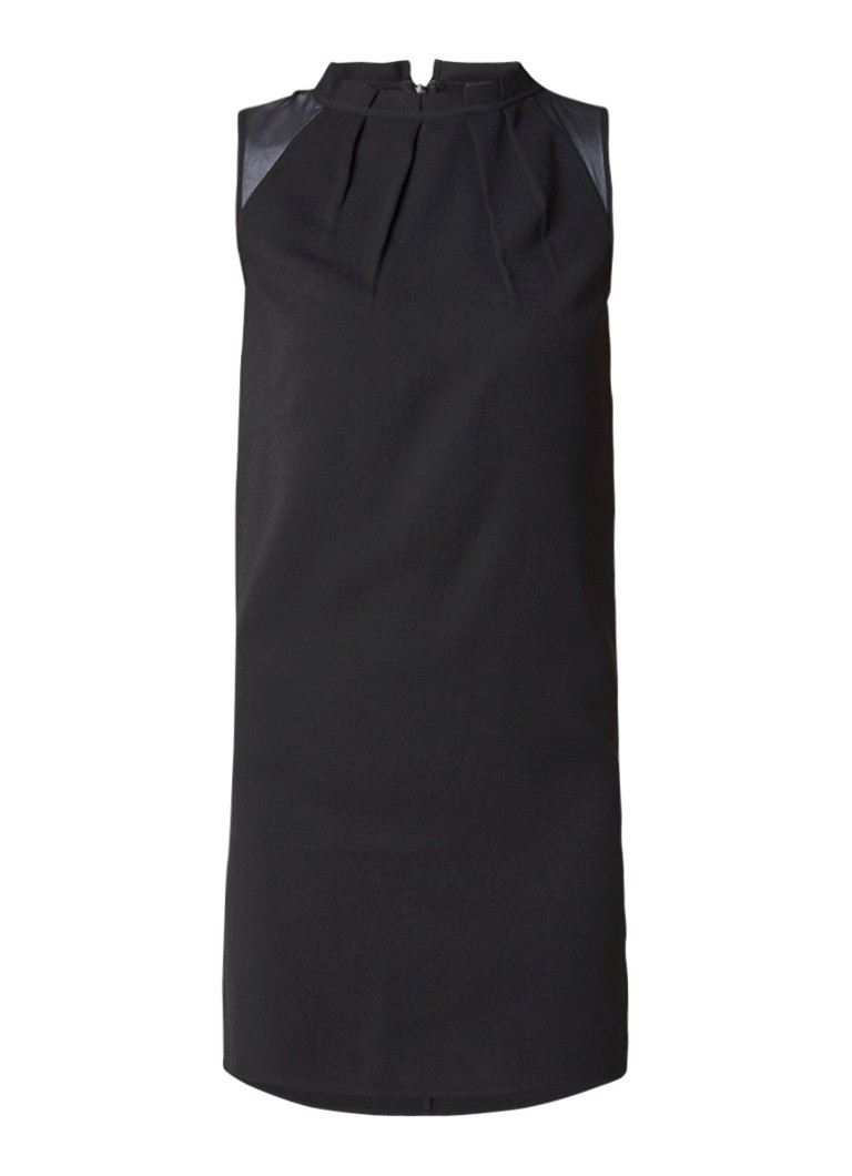 AllSaints Jay mini-jurk met plooidetails en semi-transparante inzet bordeauxrood