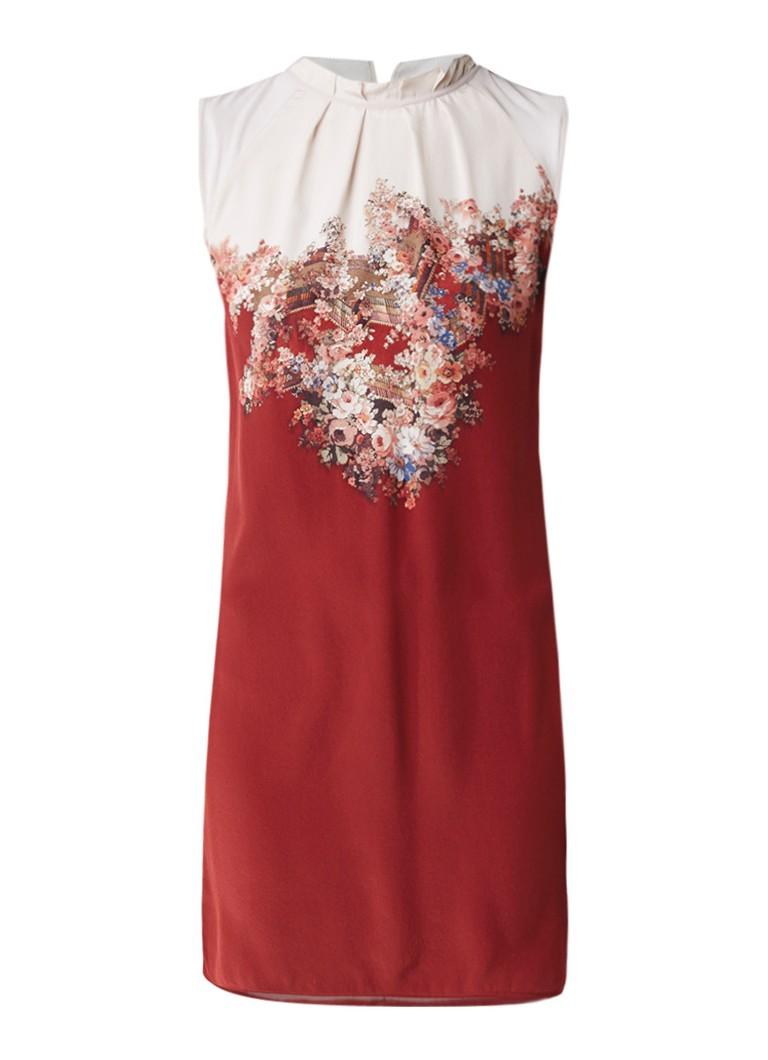AllSaints Jay Clement mini-jurk van zijde met bloemdessin roestbruin