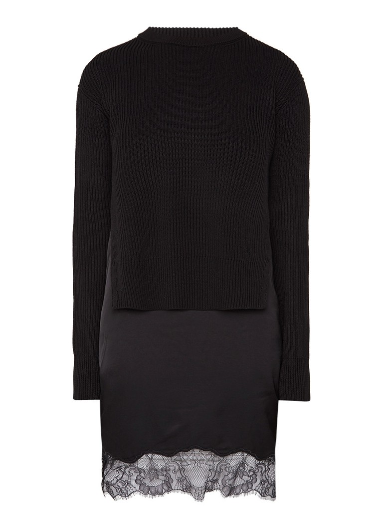 AllSaints Eloise slipdress met afneembare pullover lichtgrijs