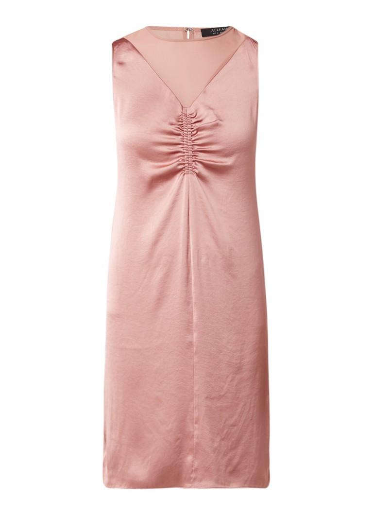 AllSaints Nuri jurk van satijn met inzet van mesh oudroze