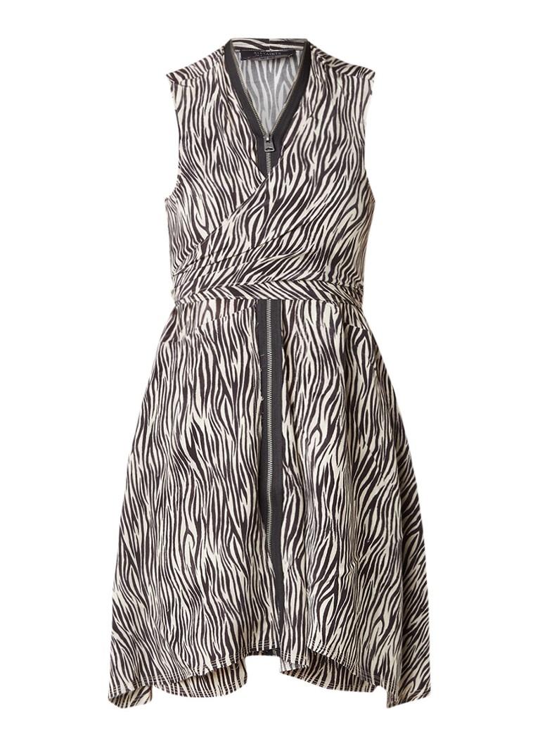 AllSaints Jayda asymmetrische jurk van zijde zebra dessin creme