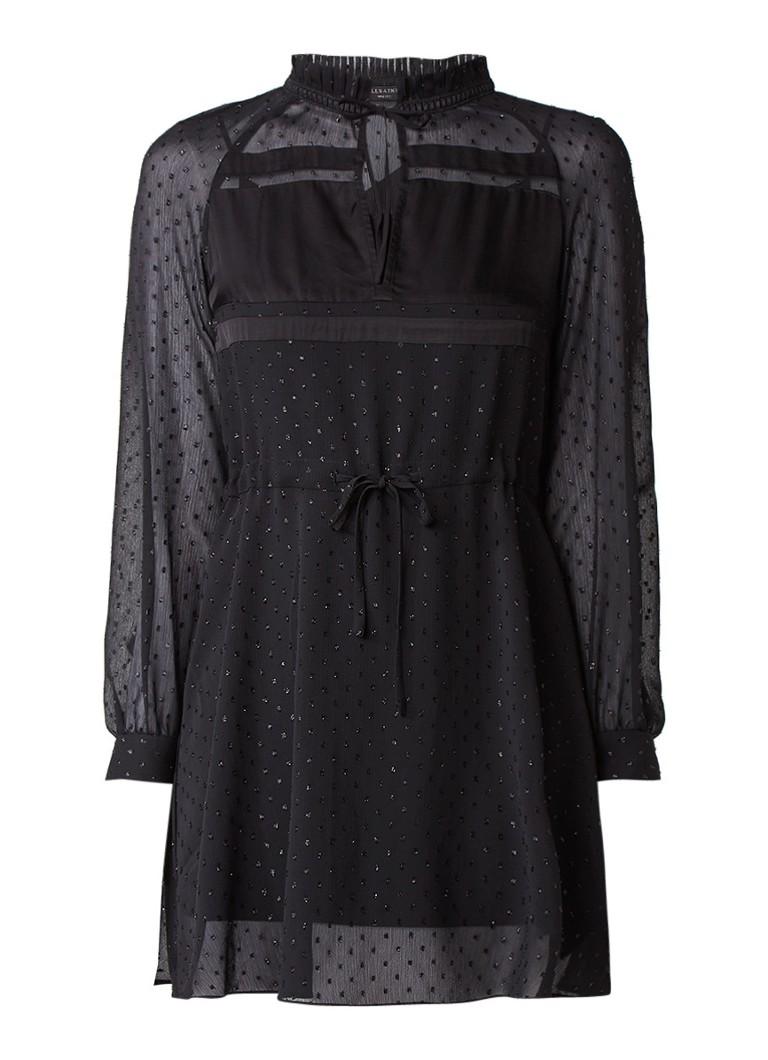 AllSaints Veda semi-transparante jurk met glansdraad zwart