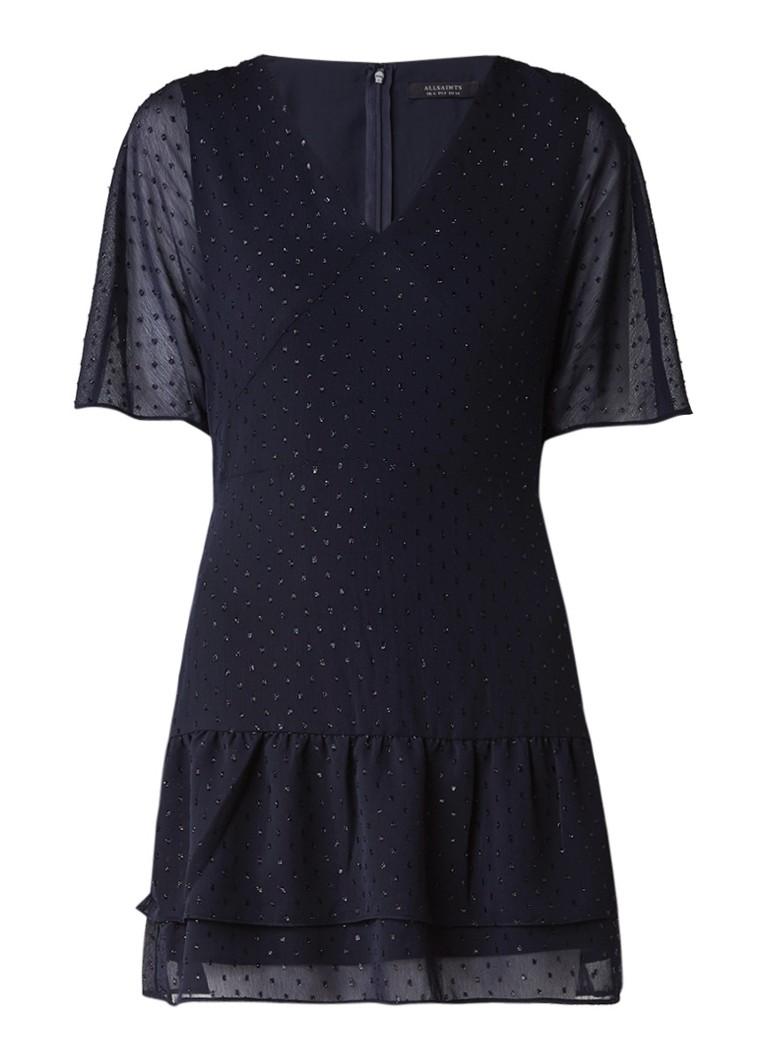 AllSaints Marley Shimmer mini-jurk van chiffon met lurex dessin donkerblauw
