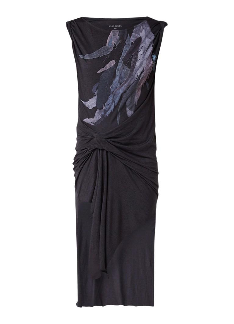 AllSaints Riviera midi-jurk met drapering en verenprint antraciet