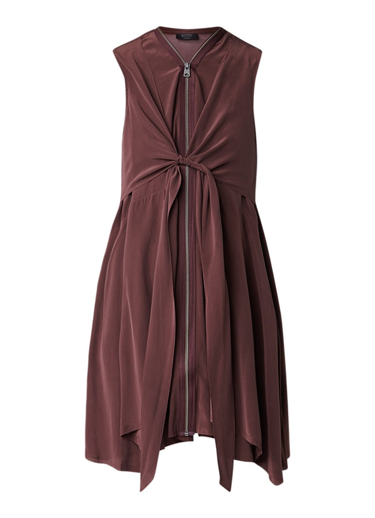 AllSaints Jayda semi-transparante midi-jurk met strikceintuur zwart