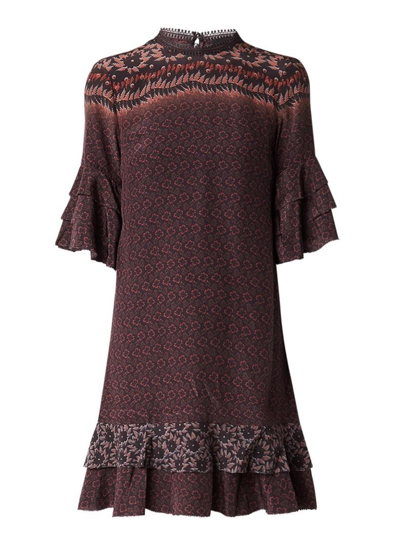 AllSaints Rayen Anokhi jurk van zijde met bloemenprint bordeauxrood
