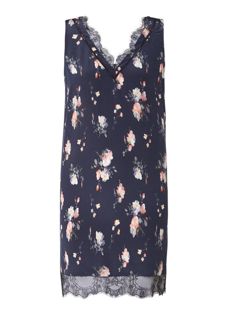 AllSaints Camia tuniekjurk met inzet van kant en bloemdessin donkerblauw