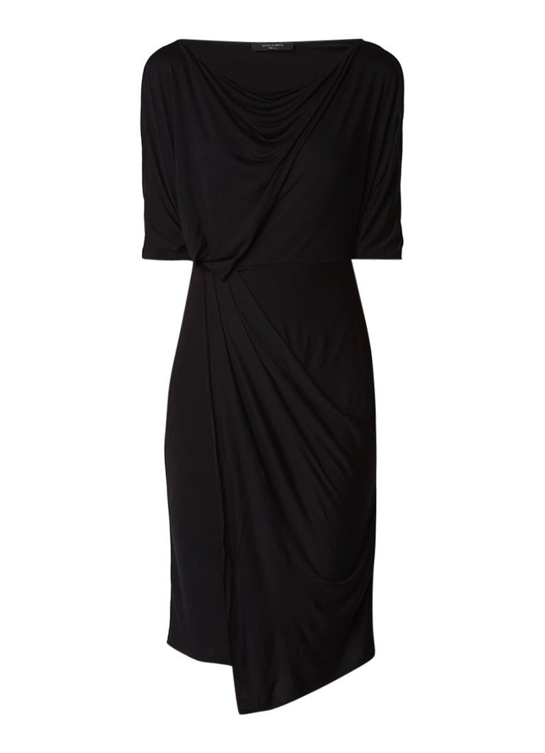 AllSaints Sina cold shoulder midi-jurk met drapering zwart