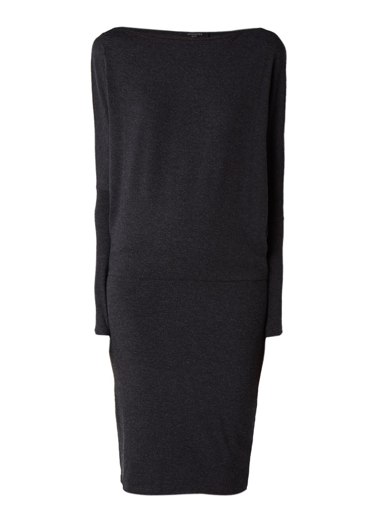 AllSaints Fri jersey jurk met lange mouw donkergrijs