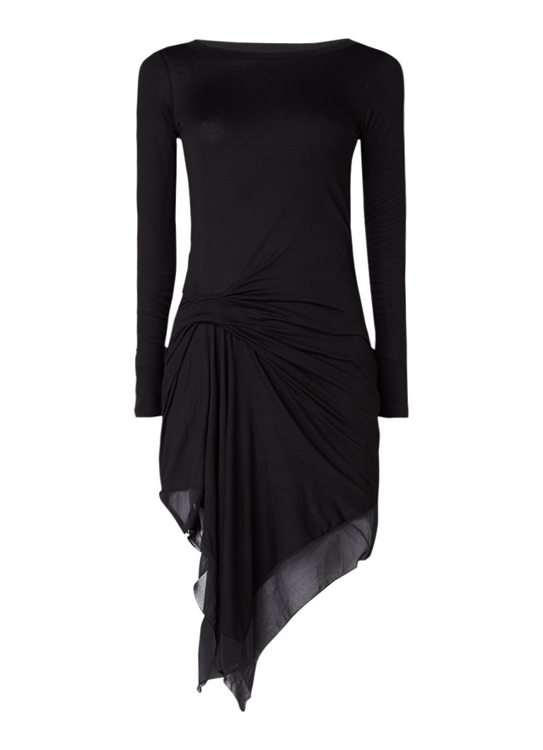AllSaints Riviera Miro asymmetrische midi-jurk met plooidetails en inzet zwart
