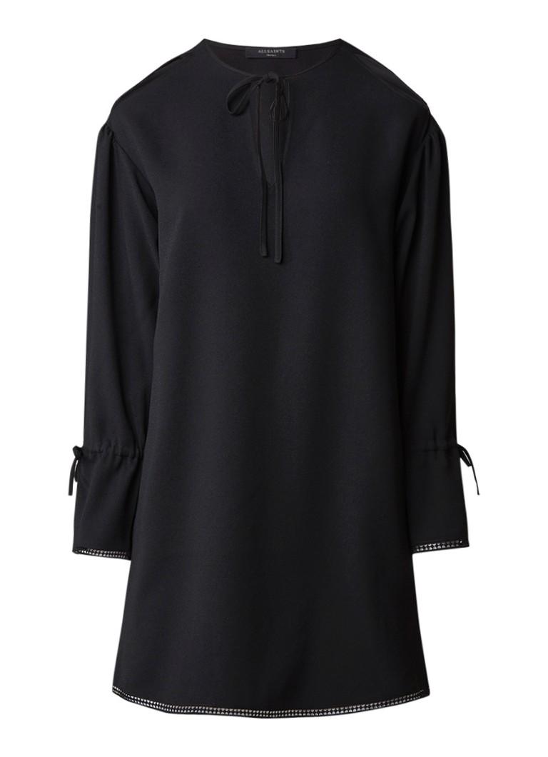 AllSaints Aster cold-shoulder jurk met strikaccent zwart