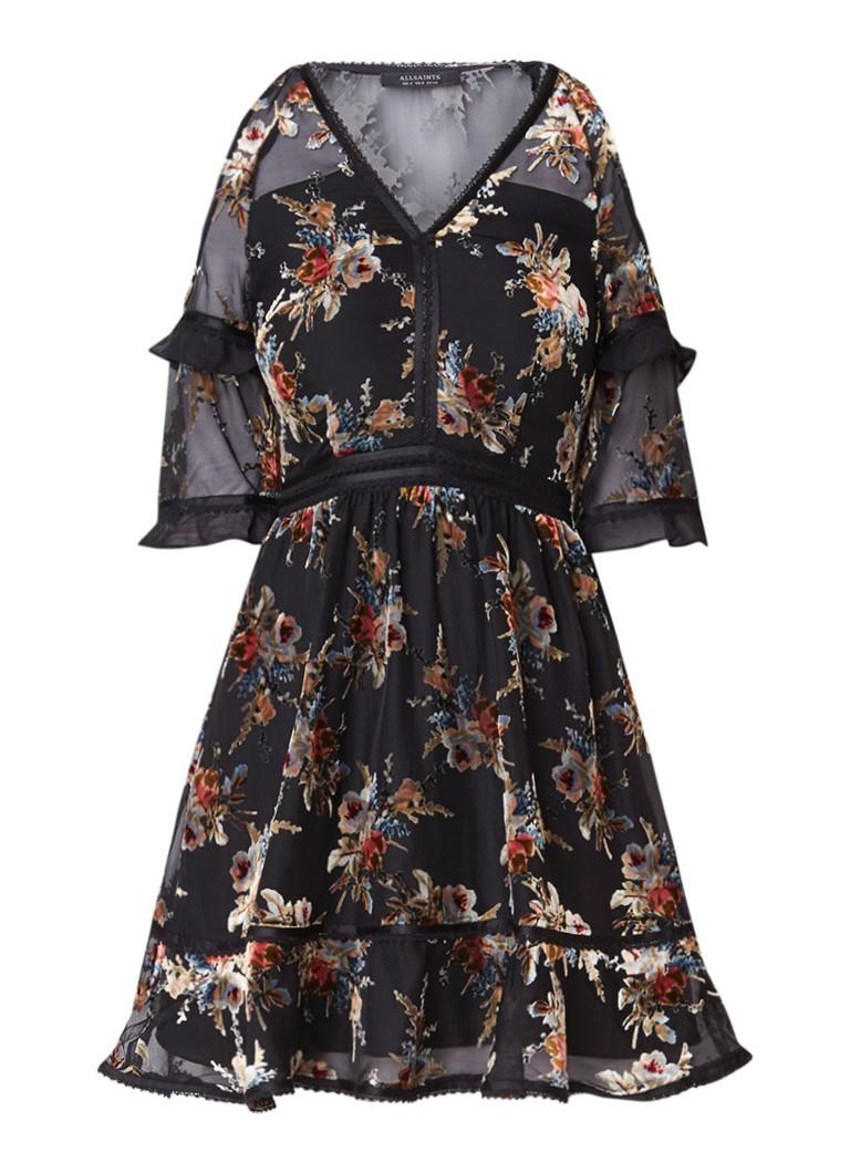 AllSaints Christal cold shoulder jurk met bloemdessin zwart