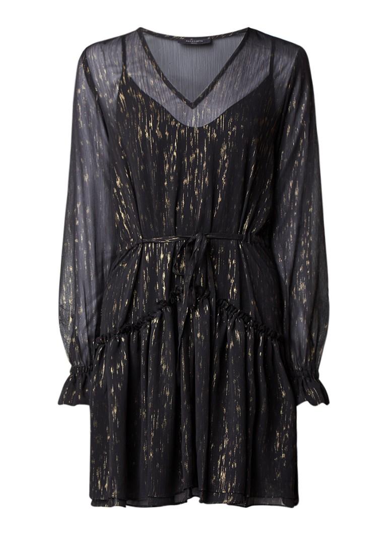 AllSaints Alia A-lijn jurk met glanzende finish zwart