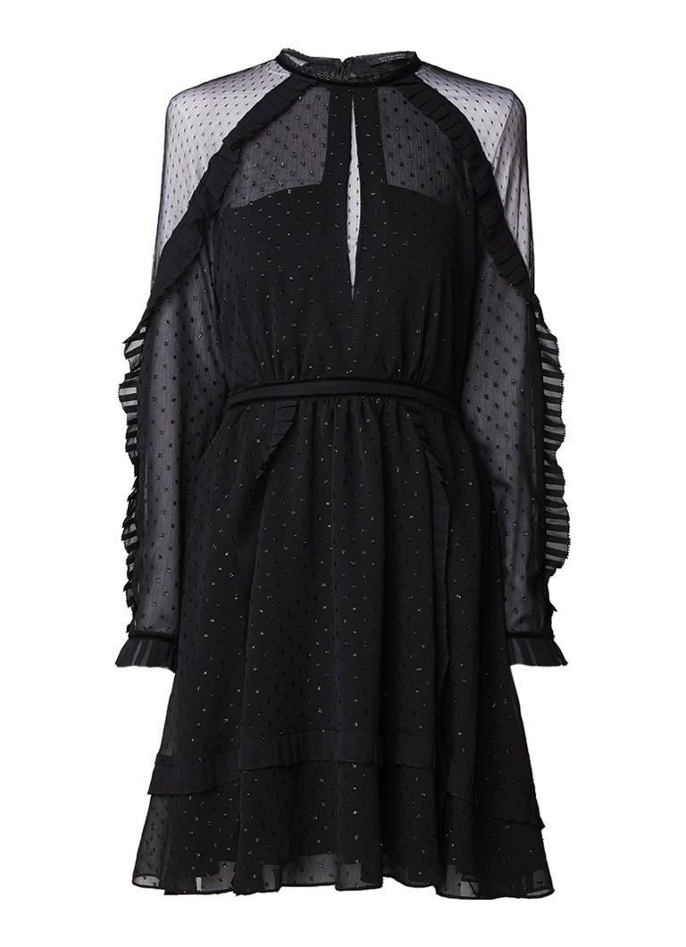 AllSaints Ivy A-lijn jurk met ruches detail en lurexdessin zwart