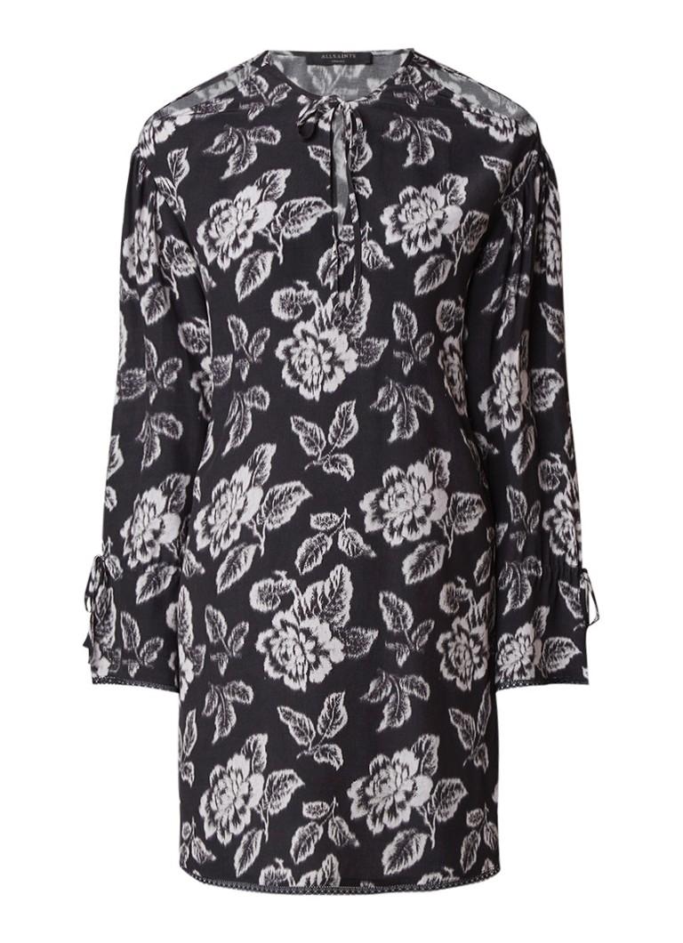 AllSaints Aster Kasuri cold-shoulder jurk met print zwart