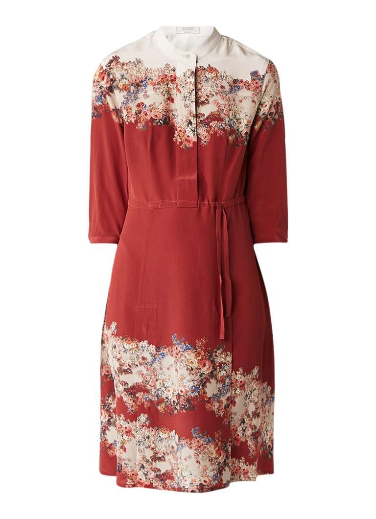 AllSaints Vera Clement midi-jurk van zijde en bloemendessin roestbruin