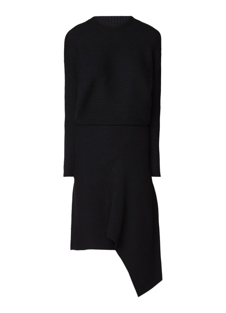AllSaints Eva ribgebreide asymmetrische midi-jurk zwart